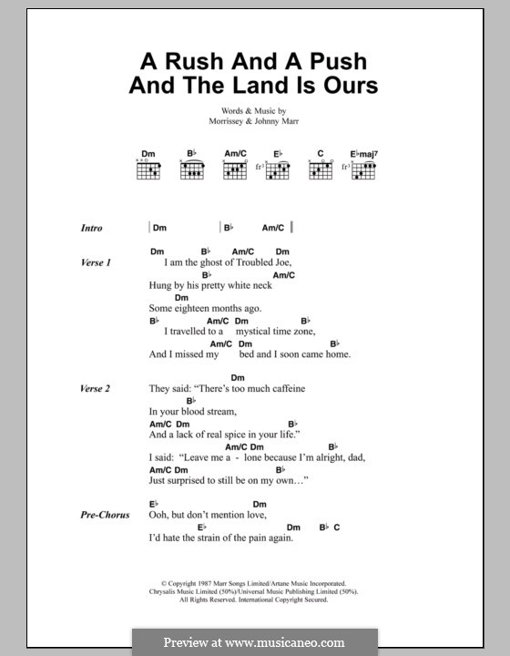A Rush and a Push and the Land Is Ours (The Smiths): Lyrics and chords by Morrissey, Johnny Marr