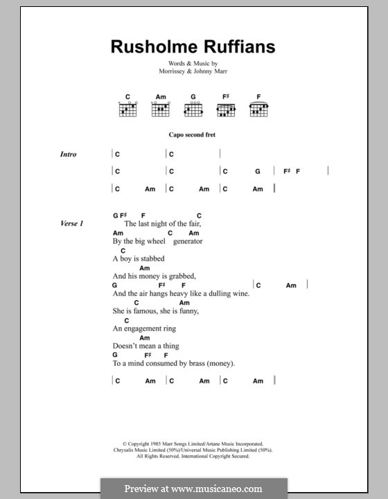 Rusholme Ruffians (The Smiths): Lyrics and chords by Morrissey, Johnny Marr