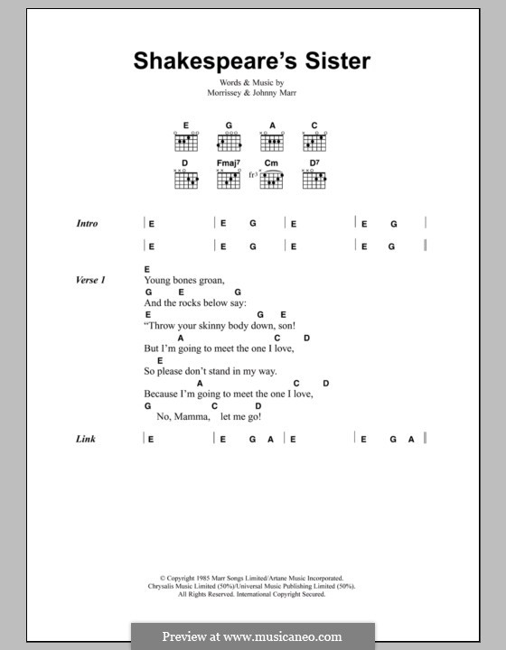Shakespeare's Sister (The Smiths): Lyrics and chords by Morrissey, Johnny Marr