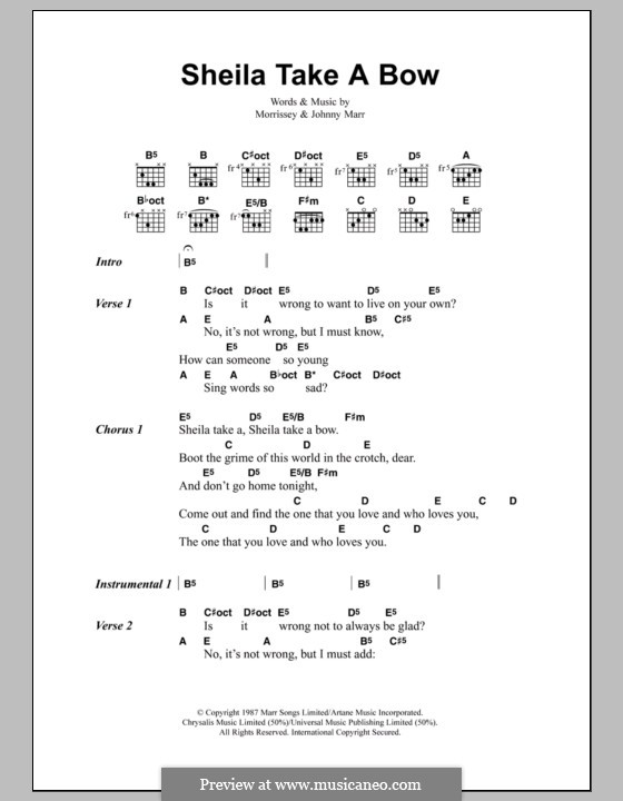 Sheila Take a Bow (The Smiths): Lyrics and chords by Morrissey, Johnny Marr