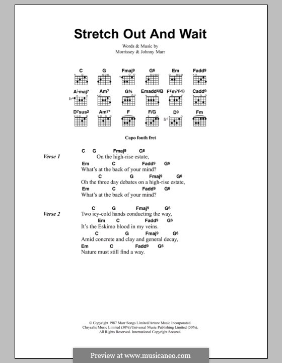 Stretch Out and Wait (The Smiths): Lyrics and chords by Morrissey, Johnny Marr