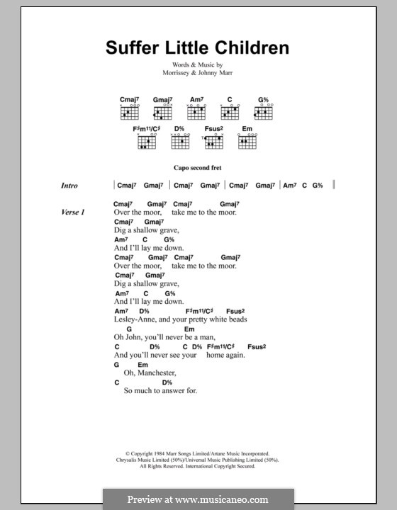 Suffer Little Children (The Smiths): Lyrics and chords by Morrissey, Johnny Marr