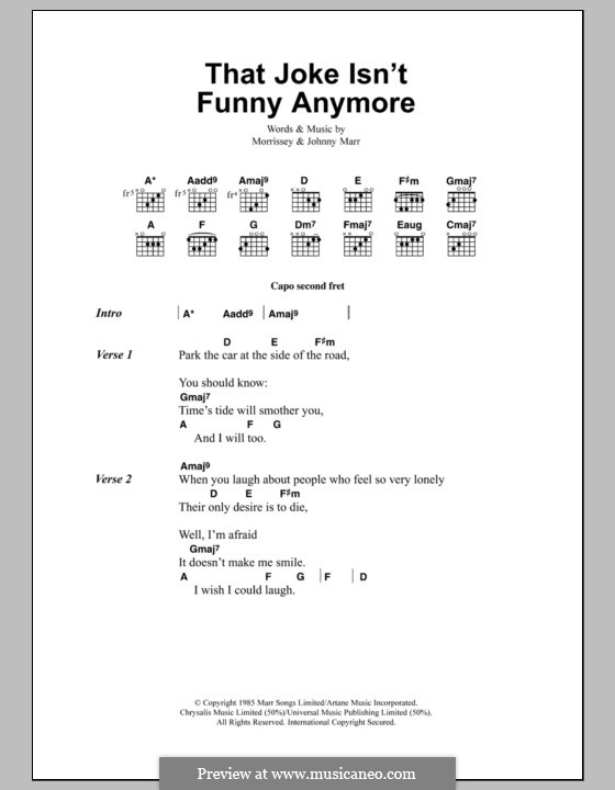 That Joke Isn't Funny Anymore (The Smiths): Lyrics and chords by Morrissey, Johnny Marr