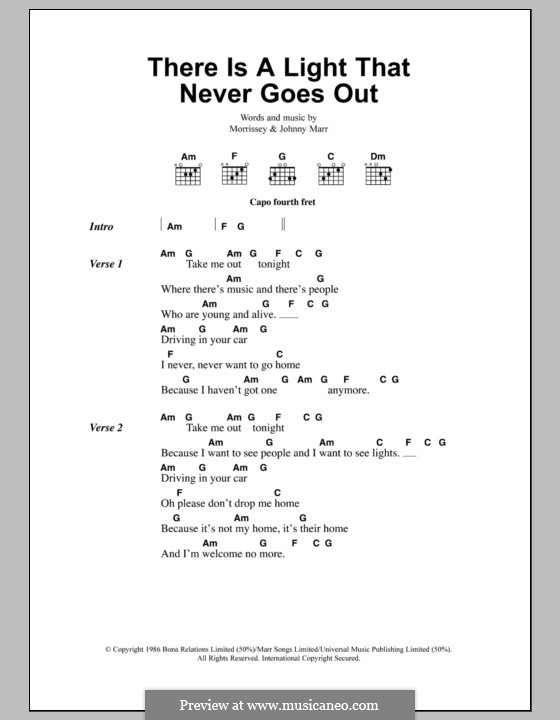 There Is a Light That Never Goes Out (The Smiths): Lyrics and chords by Morrissey, Johnny Marr