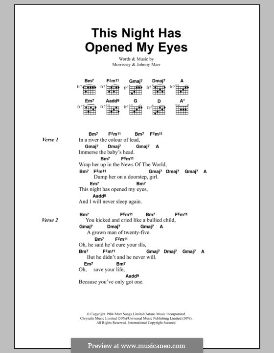 This Night Has Opened My Eyes (The Smiths): Lyrics and chords by Morrissey, Johnny Marr