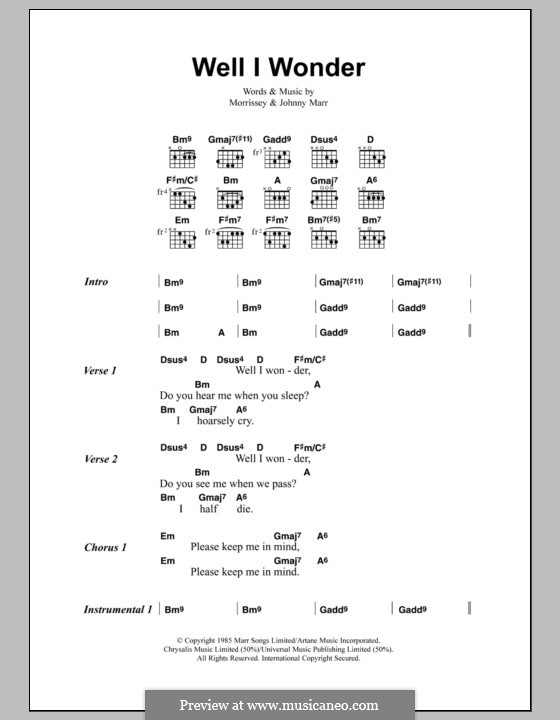Well I Wonder (The Smiths): Lyrics and chords by Morrissey, Johnny Marr
