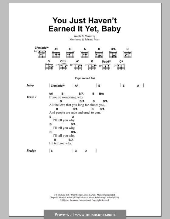 You Just Haven't Earned It Yet, Baby (The Smiths): Lyrics and chords by Morrissey, Johnny Marr
