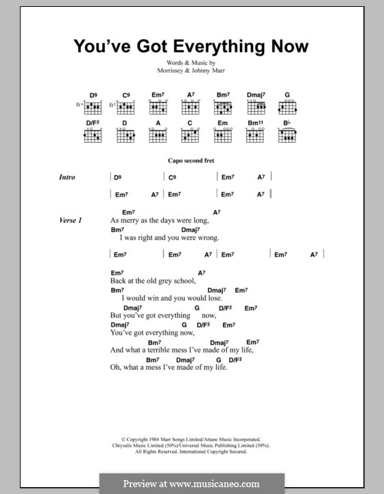 You've Got Everything Now (The Smiths): Lyrics and chords by Morrissey, Johnny Marr
