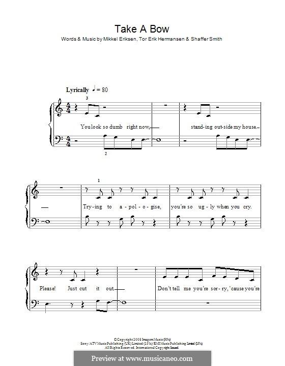 Take a Bow (Rihanna): For easy piano (with lyrics) by Mikkel Storleer Eriksen, Ne-Yo, Tor Erik Hermansen