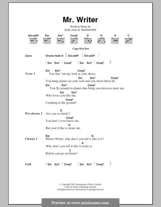 Mr. Writer (Stereophonics) by K. Jones, M. Bird - sheet music on ...