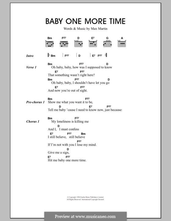 Baby One More Time (Britney Spears): Lyrics and chords by Max Martin