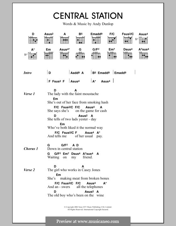 Central Station (Travis): Lyrics and chords by Fran Healy