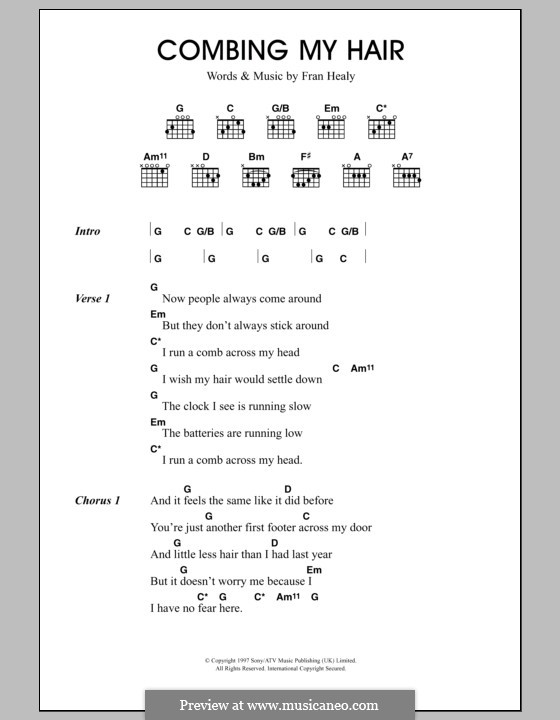 Combing My Hair (Travis): Lyrics and chords by Fran Healy