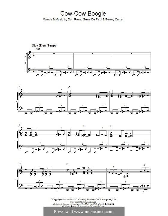 Cow-Cow Boogie: For piano by Don Raye, Benny Carter, Gene de Paul