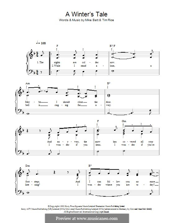 A Winter's Tale (David Essex): For easy piano by Mike Batt