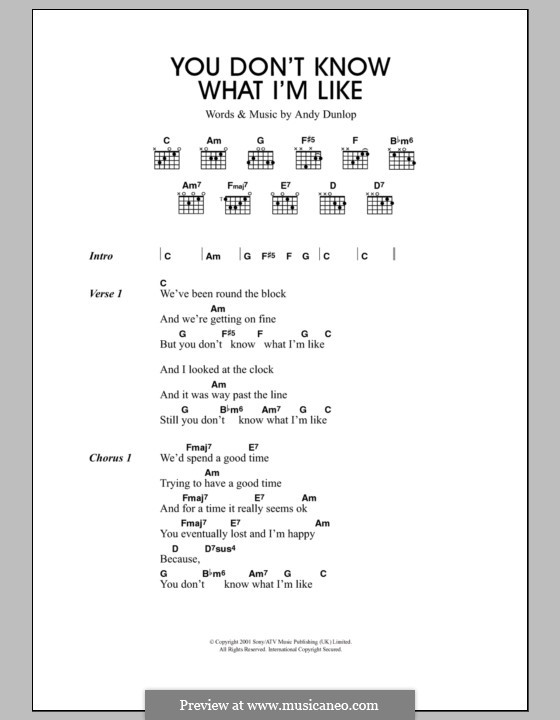 You Don't Know What I'm Like (Travis): Lyrics and chords by Andrew Dunlop