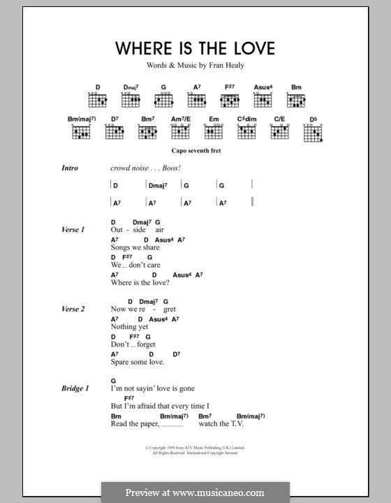 Where Is the Lovev (Travis): Lyrics and chords by Fran Healy