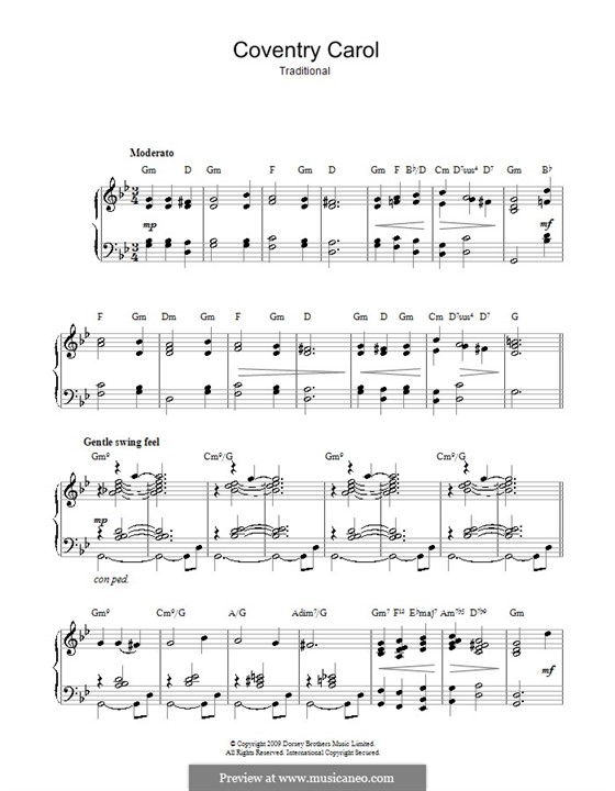 Coventry Carol: For piano (with chords) by folklore