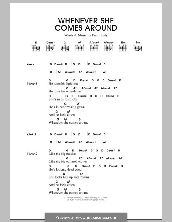 Whenever She Comes Around (Travis): Lyrics and chords by Fran Healy