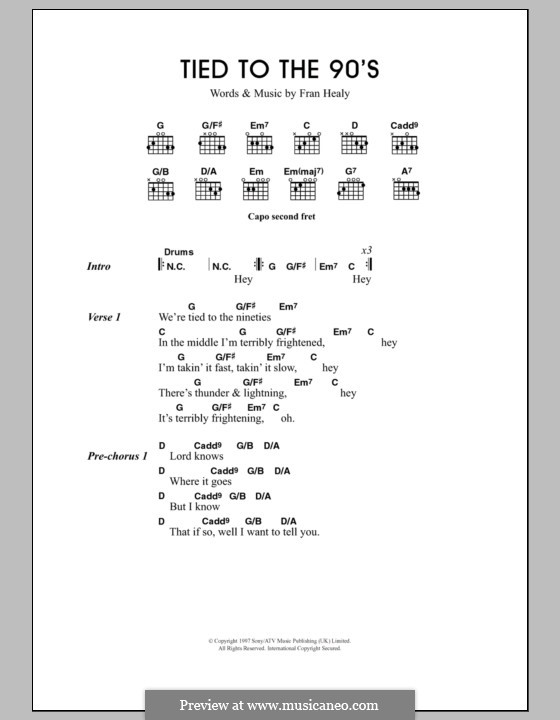 Tied to the 90s (Travis): Lyrics and chords by Fran Healy