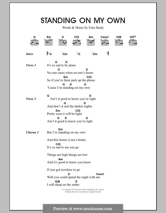 Standing on My Own (Travis): Lyrics and chords by Fran Healy