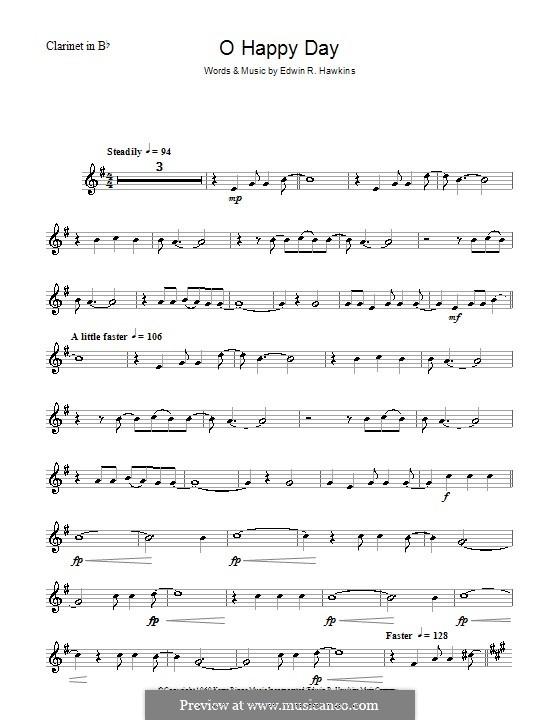 Oh Happy Day (The Edwin Hawkins Singers): For clarinet by Edwin R. Hawkins