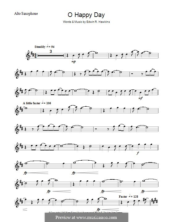 Oh Happy Day (The Edwin Hawkins Singers): For alto saxophone by Edwin R. Hawkins