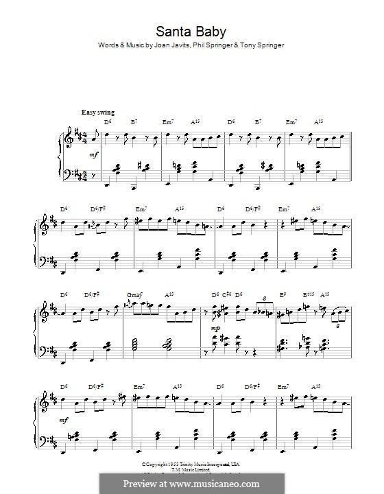 Santa Baby (Eartha Kitt): For piano (D Major) by Joan Javits, Philip Springer, Tony Springer