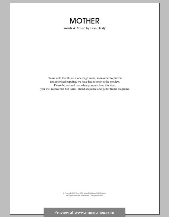 Mother (Travis): Lyrics and chords by Fran Healy