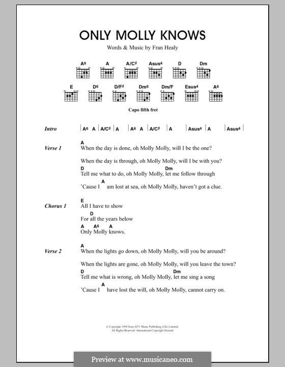 Only Molly Knows (Travis): Lyrics and chords by Fran Healy