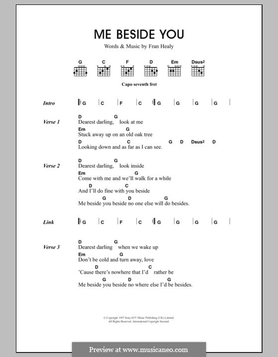 Me Beside You (Travis): Lyrics and chords by Fran Healy