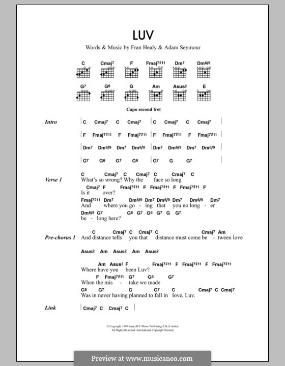 Luv (Travis): Lyrics and chords by Adam Seymour, Fran Healy