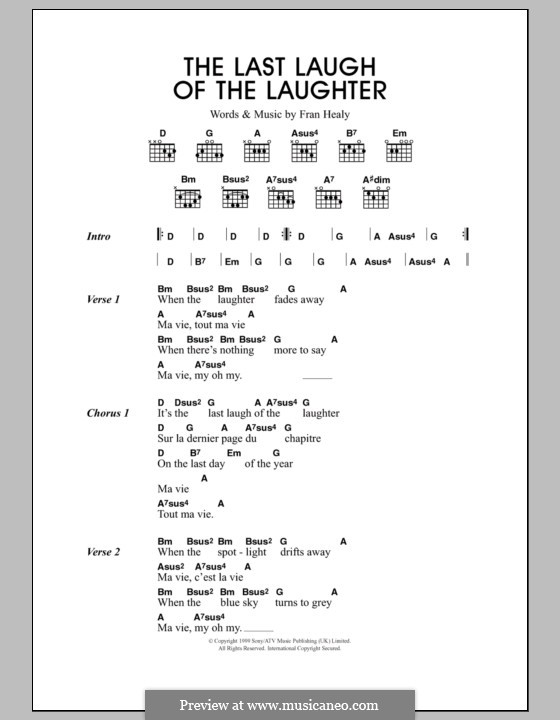 The Last Laugh of the Laughter (Travis): Lyrics and chords by Fran Healy