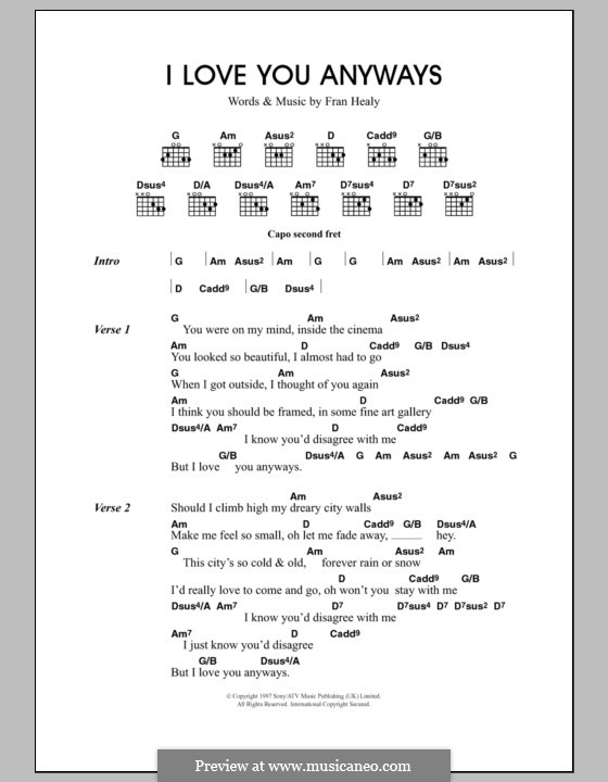 I Love You Anyways (Travis): Lyrics and chords by Fran Healy