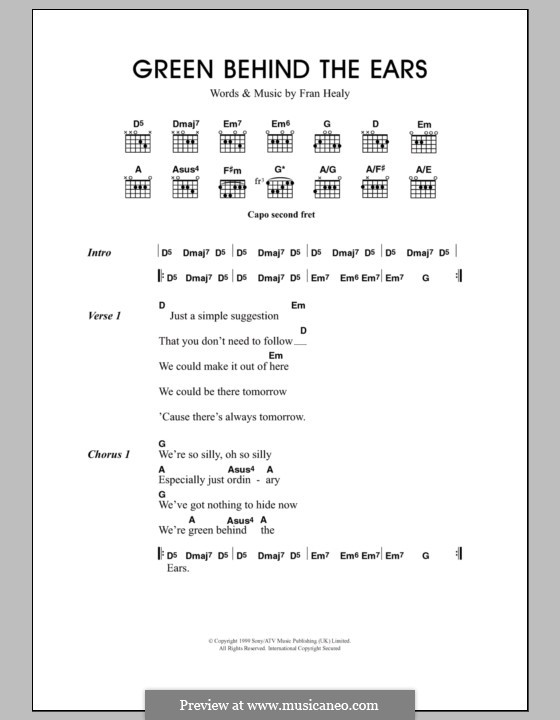 Green Behind the Ears (Travis): Lyrics and chords by Fran Healy