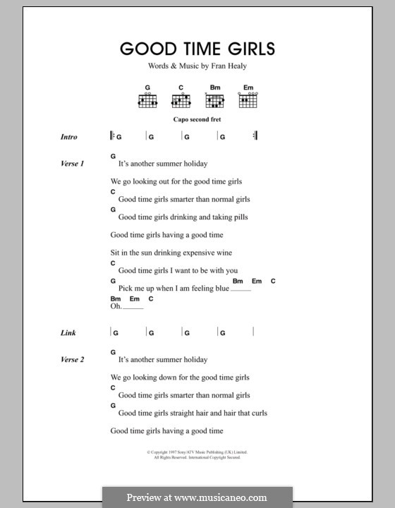 Good Time Girls (Travis): Lyrics and chords by Fran Healy