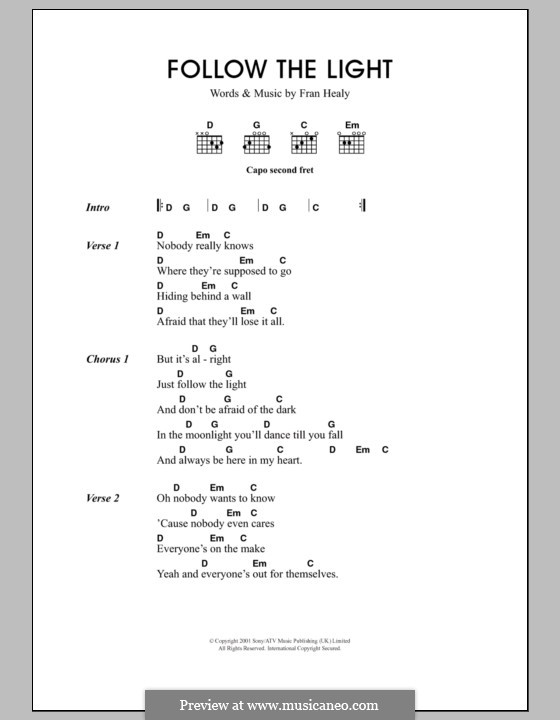 Follow the Light (Travis): Lyrics and chords by Fran Healy