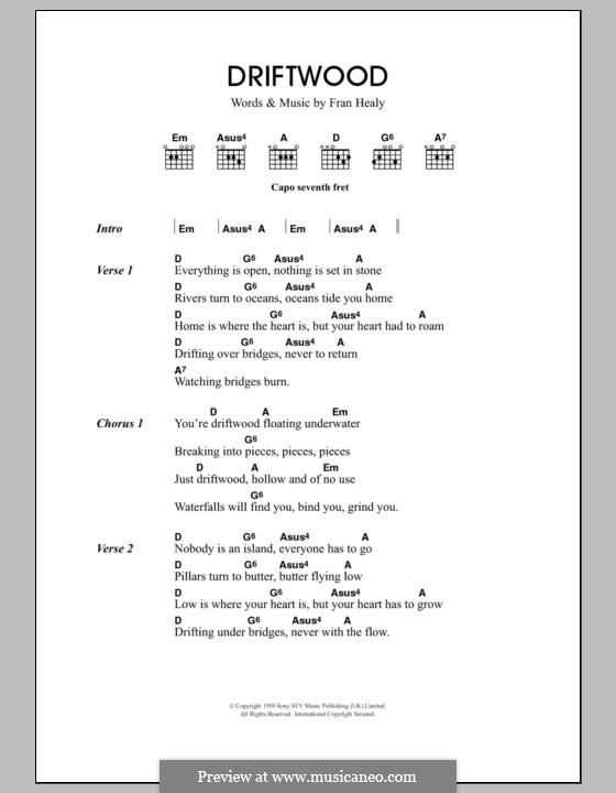 Driftwood (Travis): Lyrics and chords by Fran Healy