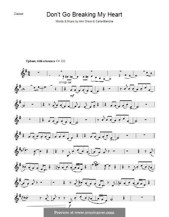 Don't Go Breaking My Heart (Elton John): For clarinet by Ann Orson, Carte Blanche