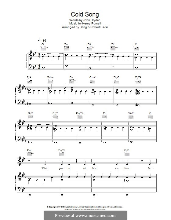 Cold Song: For voice and piano (or guitar) by Henry Purcell
