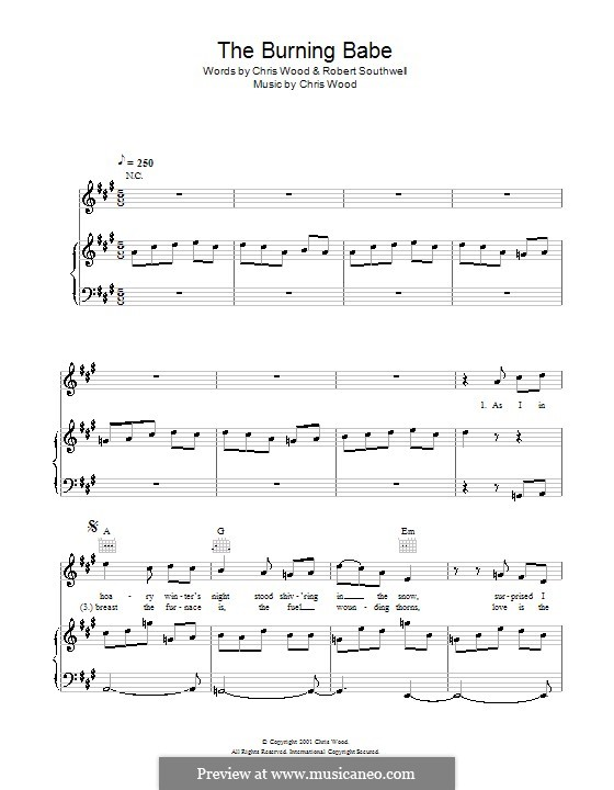 The Burning Babe (Sting): For voice and piano (or guitar) by Chris Wood