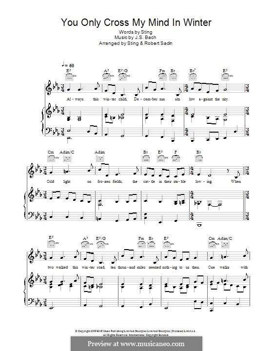 You Only Cross My Mind in Winter: For voice and piano (or guitar) by Johann Sebastian Bach