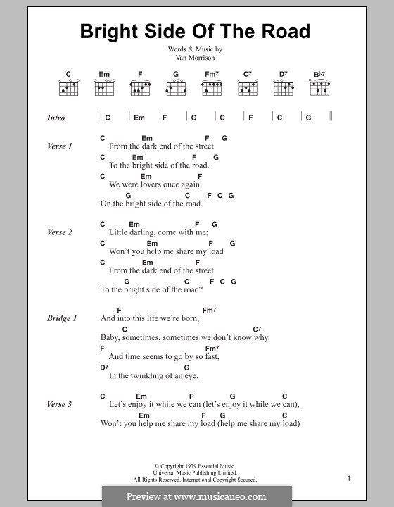 Bright Side of the Road: Lyrics and chords by Van Morrison
