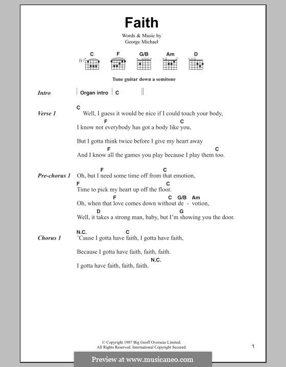 Faith: Lyrics and chords by George Michael
