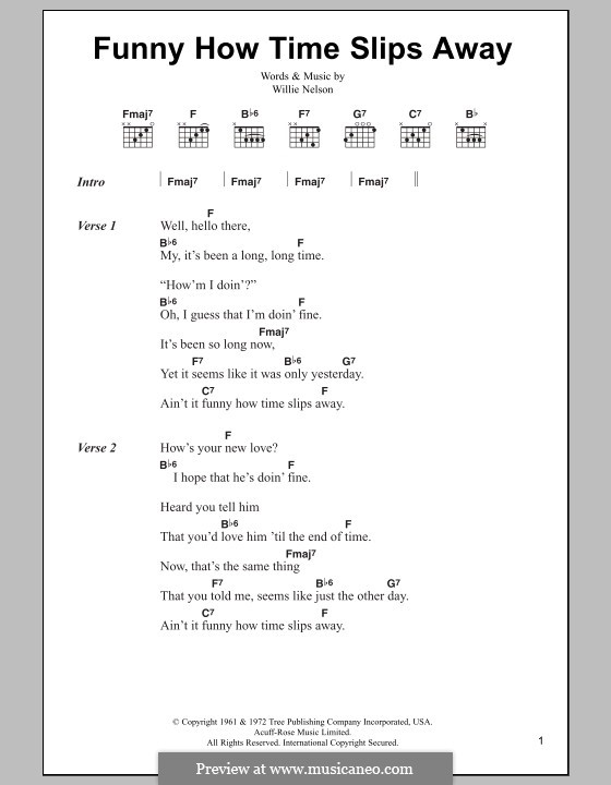 Funny How Time Slips Away By W Nelson Sheet Music On Musicaneo