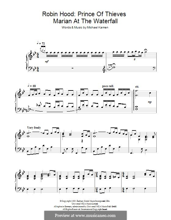 Robin Hood: Prince of Thieves (Marian at the Waterfall): For piano by Michael Kamen