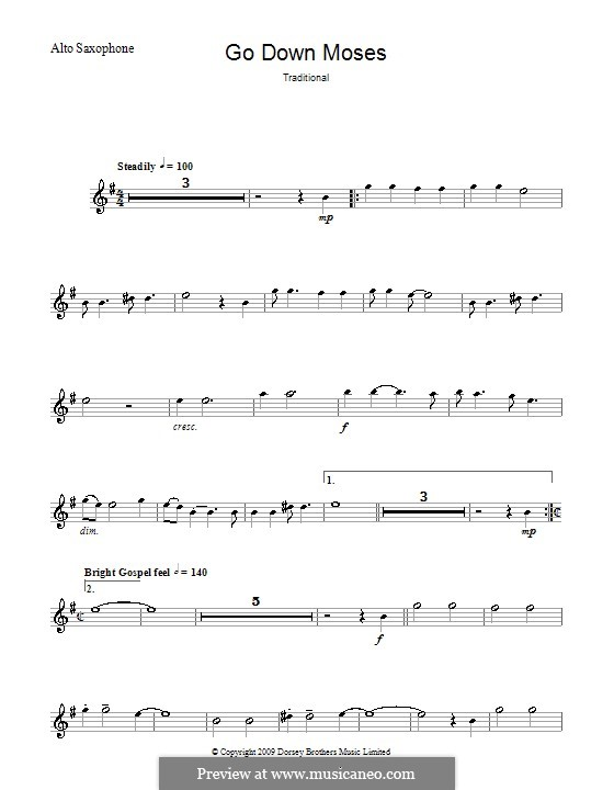 Go Down Moses: For alto saxophone and piano – solo part by folklore
