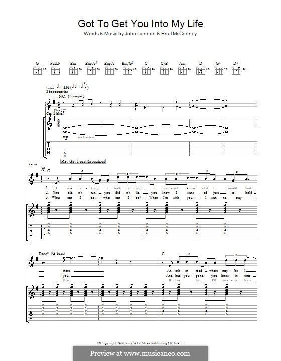 Got To Get You Into My Life (The Beatles): For guitar with tab by John Lennon, Paul McCartney