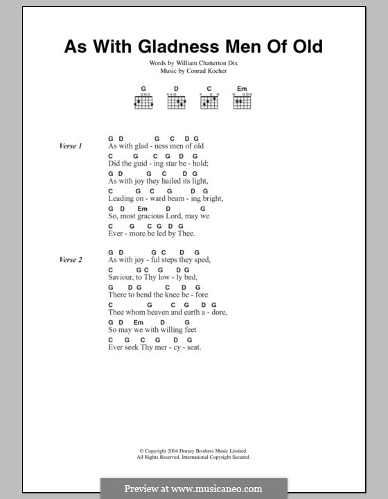 As with Gladness Men of Old: Lyrics and chords by Conrad Kocher