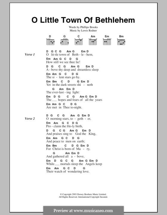 O Little Town of Bethlehem: Lyrics and chords by Lewis Henry Redner